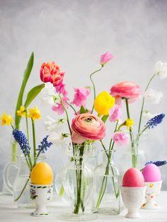 Osterdeko leicht gemacht! Ein wilder Mix aus Blumen, Vasen und verschieden gemusterten Eierbechern mit Ostereiern sorgt für eine bunte und farbenfrohe Tischdekoration, die bei euren Gästen Eindruck hinterlässt. Auf Flohmärkten findet ihr sicherlich das ein oder andere Einzelstück für diese Osterdeko mit Blumen. Ostereier natürlich färben