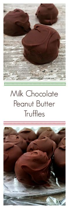Milk Chocolate Peanut Butter Truffles! This is a sweet dessert that the kids will love! Simple recipe. Peanut Butter Truffles, Chocolate Peanut Butter, Chocolate Desserts, Easy Desserts, Delicious Desserts, Yummy Food, Holiday Baking, Christmas Baking, Christmas Candy