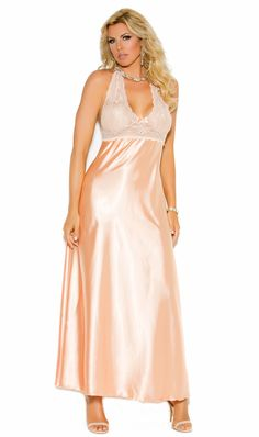 Elegant Peach Lace and Satin Long Halter Neck Nightgown a09bc4ce3