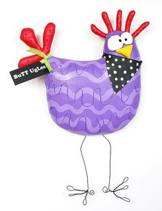 ChicKen NaMed BeaumonT ... WhimsicaL WaLL ArT ... Purple stripes ...bright YeLLow and ReD ... TeamugLycuTe