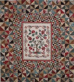 Tree of Life Old Quilts, Antique Quilts, Vintage Quilts, Petra Prins, Turkish Pattern, Tree Quilt, Sampler Quilts, Quilt Border, Hexagon Quilt