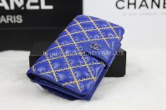 Chanel A48667 Golden Embroidered Wallet in Blue Quilted Lambskin Code: A48667 Color: Blue with golden Embroidered Dimension: 15*10*4CM Price:USD269 Inquiry: buy@ladybag.us Website:http://www.ladybag.us #chanel, #chanelwallet,#chanelbag