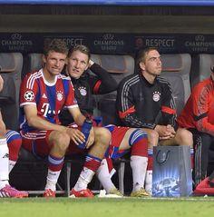 Thomas Müller, Bastian Schweinsteiger and Phillip Lahm. #UCL