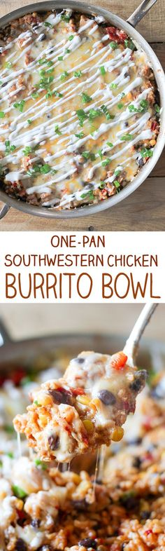 One-Pan Southwestern Chicken Burrito Bowl - Fire roasted tomatoes, sweet yellow corn, red bell peppers and tender black beans in an easy one-pot dinner!