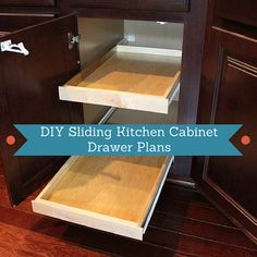DIY Sliding Kitchen Cabinet Drawer Plans by OurHomefromScratch