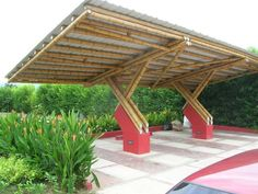 Timber Architecture, Architecture Design, Bamboo Roof, Bamboo House Design, Bamboo Building, Bamboo Structure, Bamboo Construction, Carport Designs, Carports