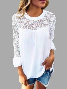 This casual top is an essential piece for this seasons. It has a lace details, chiffon stitching design amd flared long sleeves. Style with shorts is ok.