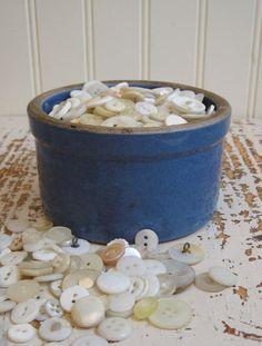 Antique Crock Blue Stoneware Butter Crock Primitive by PoemHouse, $22.00