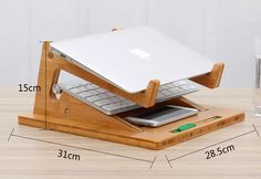 Folding Wooden Desktop Stand With Base for Tablet Laptop Macbook Air or Pro