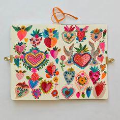Hearts revised. #carolyngavin #carolyngavinsketchbook #milagros #watercolor #love #hearts #carolyngavinillustration #dscolor