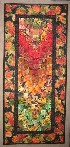 Art Quilt Autumn Leaves Fabric Wall Hanging by TahoeQuilts on Etsy