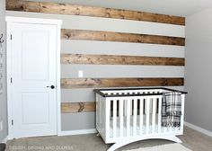 Learn how to install a DIY Wood Striped Wall for a more rustic modern look.