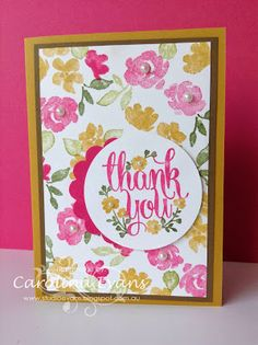 NEW English Garden DSP inspired Stamped Design Cards using Stampin' Up! products Painted Petals, A Whole Lot of Lovely, marker to stamp technique. Carolina Evans #stampinup