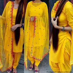 Pure Cotton Plain Patiala Suit Dupatta Material (Yellow) - New Arrival Patiala Dress, Patiala Salwar Suits, Punjabi Dress, Punjabi Girls, Sharara, Churidar, Patiala Suit Wedding, Punjabi Wedding, Anarkali