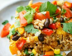 Easy Mexican Brown Rice Bake - Healthy, Veggie, Gluten Free