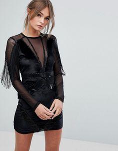 Boohoo Sequin And Velvet Tasselled Bodycon Dress - Black