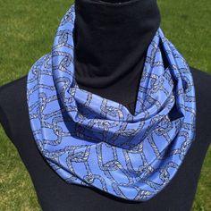 Blue Silk Infinity Scarf loop scarf circle scarf by SissyandTodo