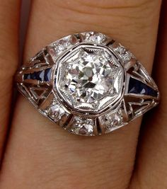 Edwardian 1.55ct Antique Platinum, Old European Diamond and French Calibre Sapphire Engagement Ring