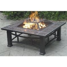 Steel Fire Pit with Granite Surround and Cover