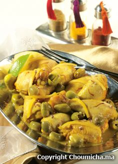Chicken with olives, saffron and preserved lemons (Poulet au safran, coriandre et citron confit)