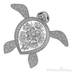 Modello per il libro da colorare Tartaruga grafica decorativa