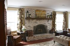 Adorable Brick Fireplace Ideas. Dazzling White Bricks Fireplace features Brown Color Wooden Mantel Piece and Built In Fireplace
