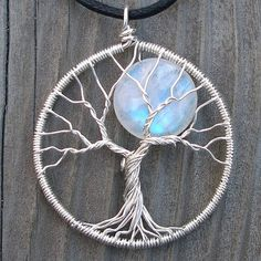 Moon Tree Sterling Silver and Moonstone Pendant