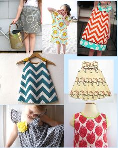 Great handmade graphic printed girls party dresses...  colorful, chevron, bicycles, fruit, circles, graphic patterns.    follow style-a-kid.blogspot.com for your daily dose of kids' style :)