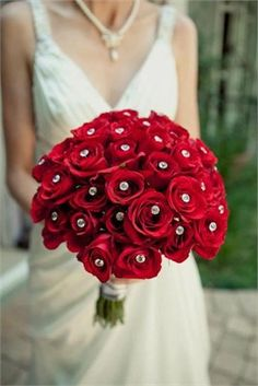 red roses with diamante detail