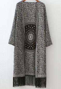 Style Fashion Tips Black White Floral Tassel Loose Casual Kimono.Style Fashion Tips Black White Floral Tassel Loose Casual Kimono Black Kimono Cardigan, Look Kimono, Kimono Top, Floral Kimono, Kimono Style, Fashion Mode, Hijab Fashion, Trendy Fashion, Womens Fashion