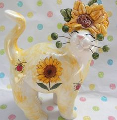 "Cheerful yellow ""Helianthus"" one-of-a-kind  sunflower WhimsiClay cat w/ladybugs"