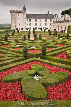 Chateau Villandry and gardens in the region of Loire Valley, France
