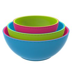 Fit and Fresh 3-Piece Chilled Freezable Serving Bowls with Lids - Multi-Colored * Huge price off! : Mixing bowls baking