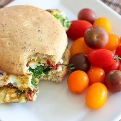 Spinach and Sun-Dried Tomato Omelet Sandwich