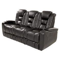 "Transformer Black 84"" Power Motion Duo Recliner Sofa"