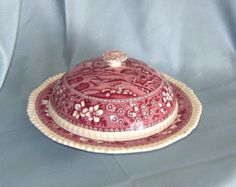 Copeland Spode Tower Red or Pink Covered Muffin Butter Dish Old Mark