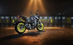 Yamaha MT-09, 2017, back view, sportbikes, night