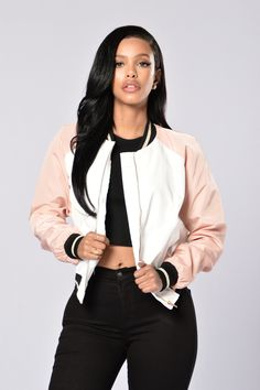 - Available in Black/Grey and Ivory/Blush - Color Block Bomber - Non-padded - Gold Glitter Strip - Front Button Pockets - 100% Polyester
