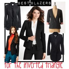 Best blazers for the inverted triangle (apple) shape. #bodyshape [http://www.franticbutfabulous.com/2012/02/28/how-to-buy-a-blazer-for-the-inverted-triangle-apple-shape/]