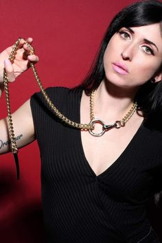 Our sophisticated gold bdsm collar has a sexy long chain leash with choking effect - O ring and spike pendant at the bottom. Wrap this playful slave collar around your neck! Slave Collar, Collar And Leash, Neck Collar, Collar And Cuff, Jewelry For Her, Chokers, Chain, Athletic Girls, Mistress