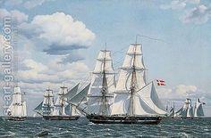 Christoffer Wilhelm Eckersberg (1783-1853): Merchant Ships Crossing In Full Sail, A Danish Vessel In Front