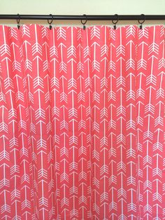 Coral Bittersweet Arrows Curtain Panels. All by thebluebirdshop