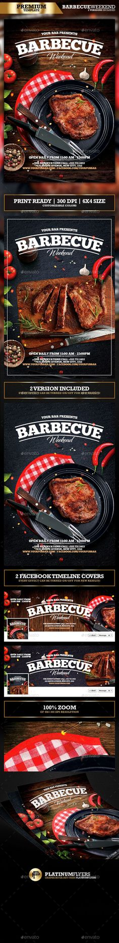 Barbecue BBQ Restaurant Promotion Flyer - PSD Template • Only available here ➝ http://graphicriver.net/item/barbecue-bbq-restaurant-promotion-flyer/16910804?ref=pxcr