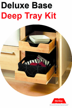 Add a second tray for better storage and even more functionality in your kitchen. In your base cabinets, you can install one tray at the bottom of the cabinet and one in the center - these will keep you from getting on your knees looking for something in the back of the cabinet.  #CabinetOrganizer #CabinetTrays #RolloutTrays