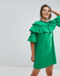 ASOS Mini Tea Dress In Sweat With Frill and Sports Tipping