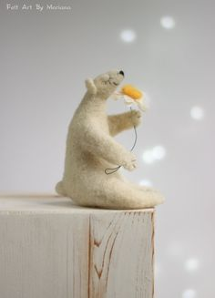 Needle Felt White Bear  Dreamy White Bear With by FeltArtByMariana
