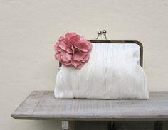 Floral clutch, ivory bridal clutch bag, pleated