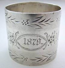 RARE~WILLIE to CARRIE~~ANTIQUE/VICTORIAN NAPKIN RING~coin~SOLID STERLING SILVER