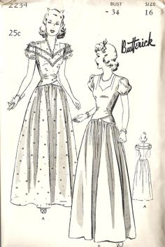 1940s Misses Evening or Ball Gown Vintage by MissBettysAttic, $55.00