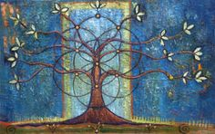 Tree Art Images - The Tree of Life, a print Small Print Tree of Life by PaintingsJudithShaw on Etsy, Tree Of Life Painting, Tree Of Life Art, Tree Art, Tree Paintings, Spirit Science, Carl Jung, Flower Of Life, Sacred Geometry, Geometry Art